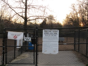 The double-gated entrance to the dog park