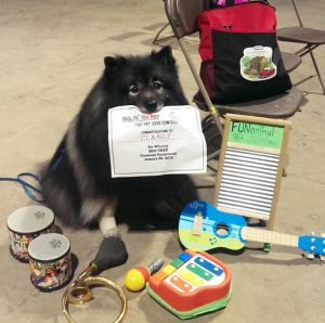"Clancy won ""The Best Trick"" at the World of Pets Expo in Baltimore, MD last weekend!  He will share this ""One-Dog Band"" trick with everyone to celebrate 25,000 signatures on the www.KeesRescue.com petition!"